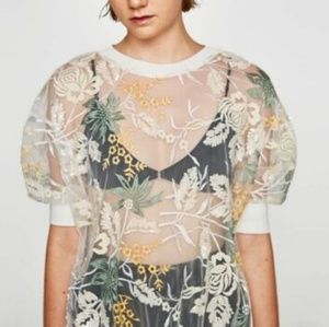 Zara Beautiful Embroidered and Sequin Shirt NWT